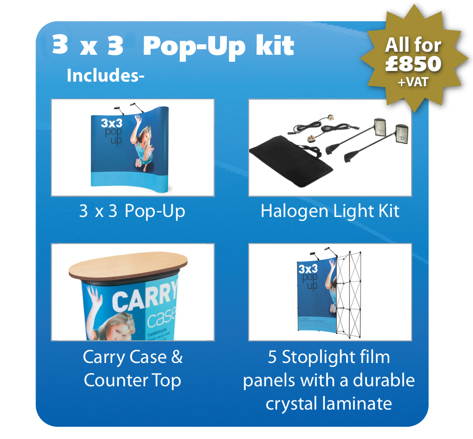 3m x 3m Pop up package deal